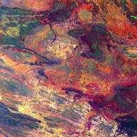 pintura abstracta verde rojo y azul