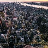 Letecký pohled na výškové budovy