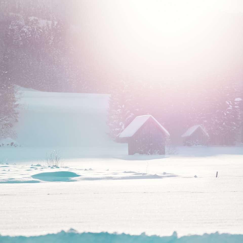 μαύρο σπίτι στο πεδίο χιονιού κατά τη διάρκεια της ημέρας