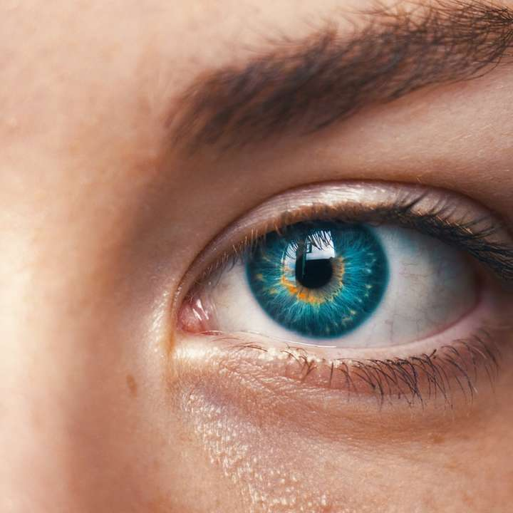 Eyes tell no lies - selective focus of blue-eyed person (4×4)