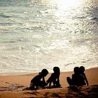 ludzie siedzący na plaży w ciągu dnia