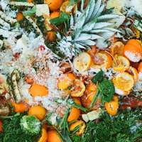 gesneden oranje fruit op groene bladeren
