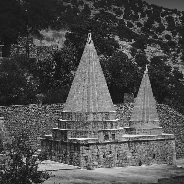 grayscale photo of concrete building online puzzle