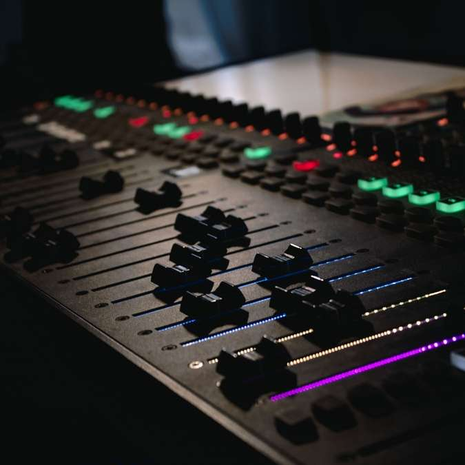 black and green audio mixer sliding puzzle
