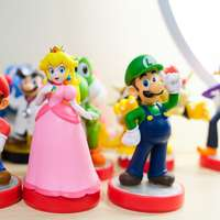 Mario, Luigi, and Princess Peach figurines sliding puzzle