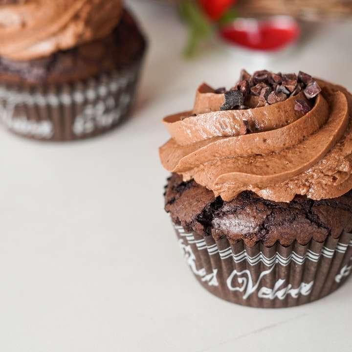 chocolate cupcake on white table