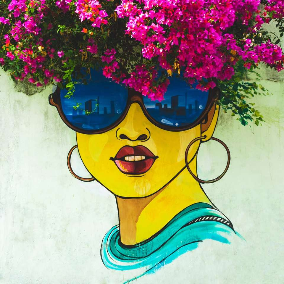 woman wearing sunglasses wall painting