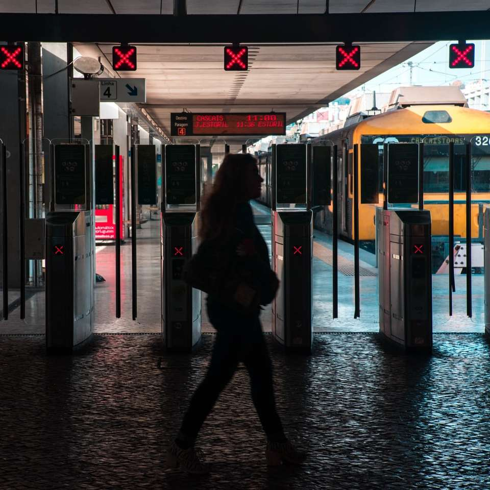 silhouette of woman walking on train station